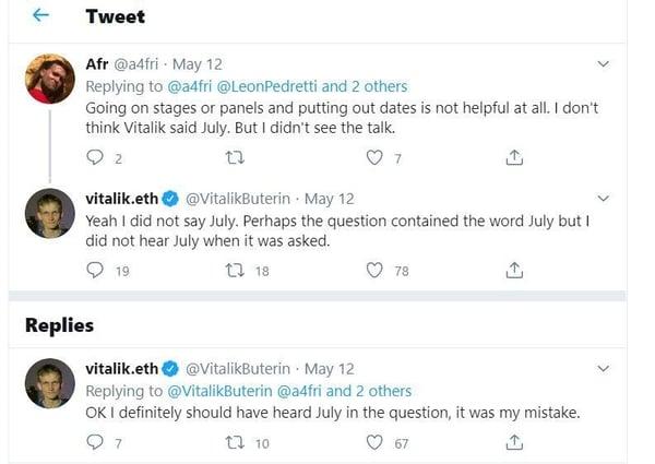 Vitalik Buterin's tweet